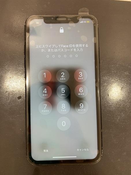 iPhoneX 液晶 ノイズ 液漏れ 修理後