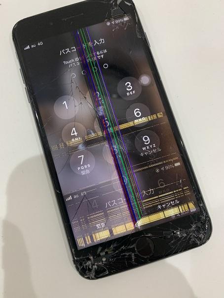 iPhone8Plus 液晶表示不良 タッチ不良 修理前