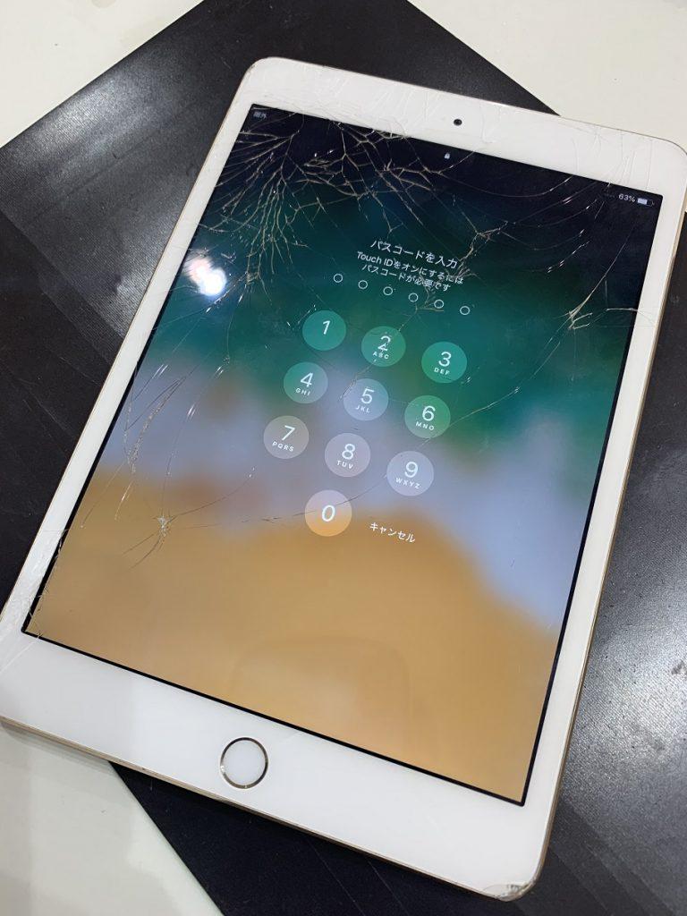 iPad mini3 ガラス割れ 修理前