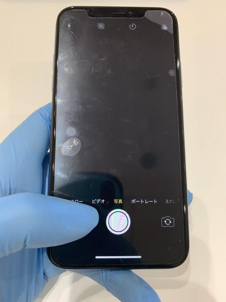 iPhoneXR カメラ故障 映らない 修理前