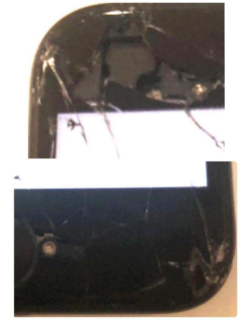 iPhone7 修理前ベゼル欠け