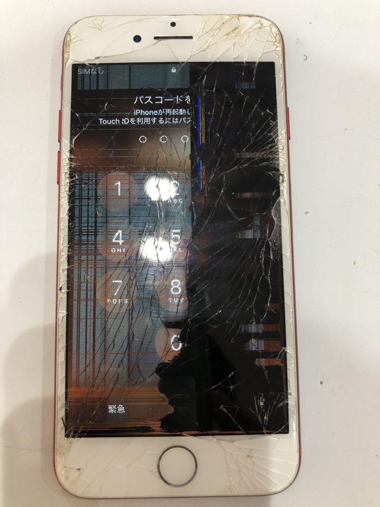 iPhone7画面割れ表示不良修理前
