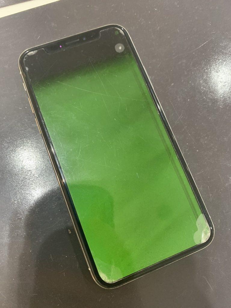 iPhoneX 画面損傷 緑表示