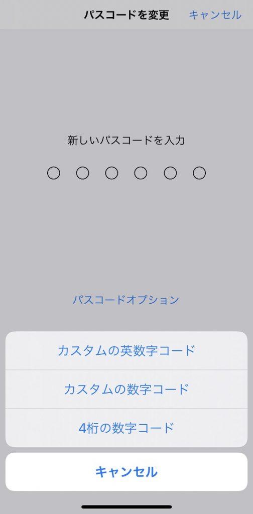 iPhone パスコード 設定画面②