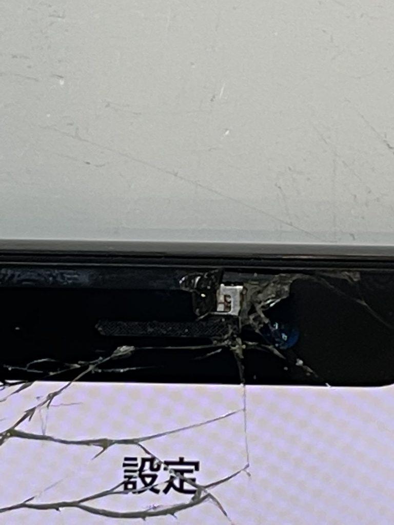 iPhoneX 液晶交換修理前ノッチ部分破損